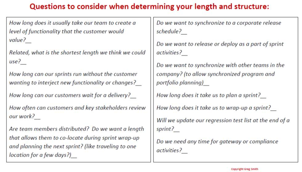 Use These Questions to Help You Determine the Length and Structure of Your Sprints